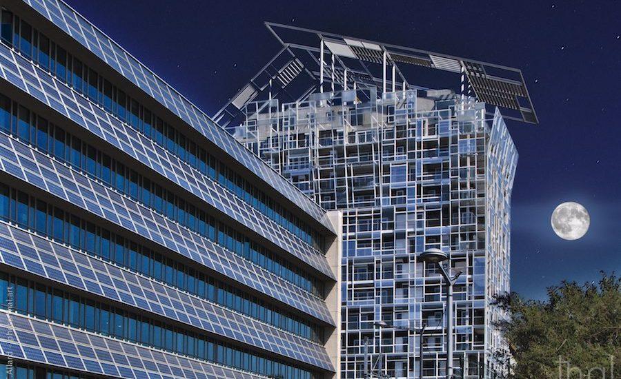 Montage photo intersidéral avec l'immeuble Ycone de Jean Nouvel