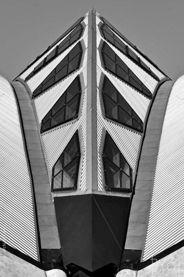 Détail de la structure métallique de la gare de Lyon Saint-Exupéry