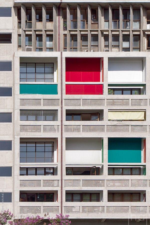 Détail de la façade de la Cité Radieuse à Marseille
