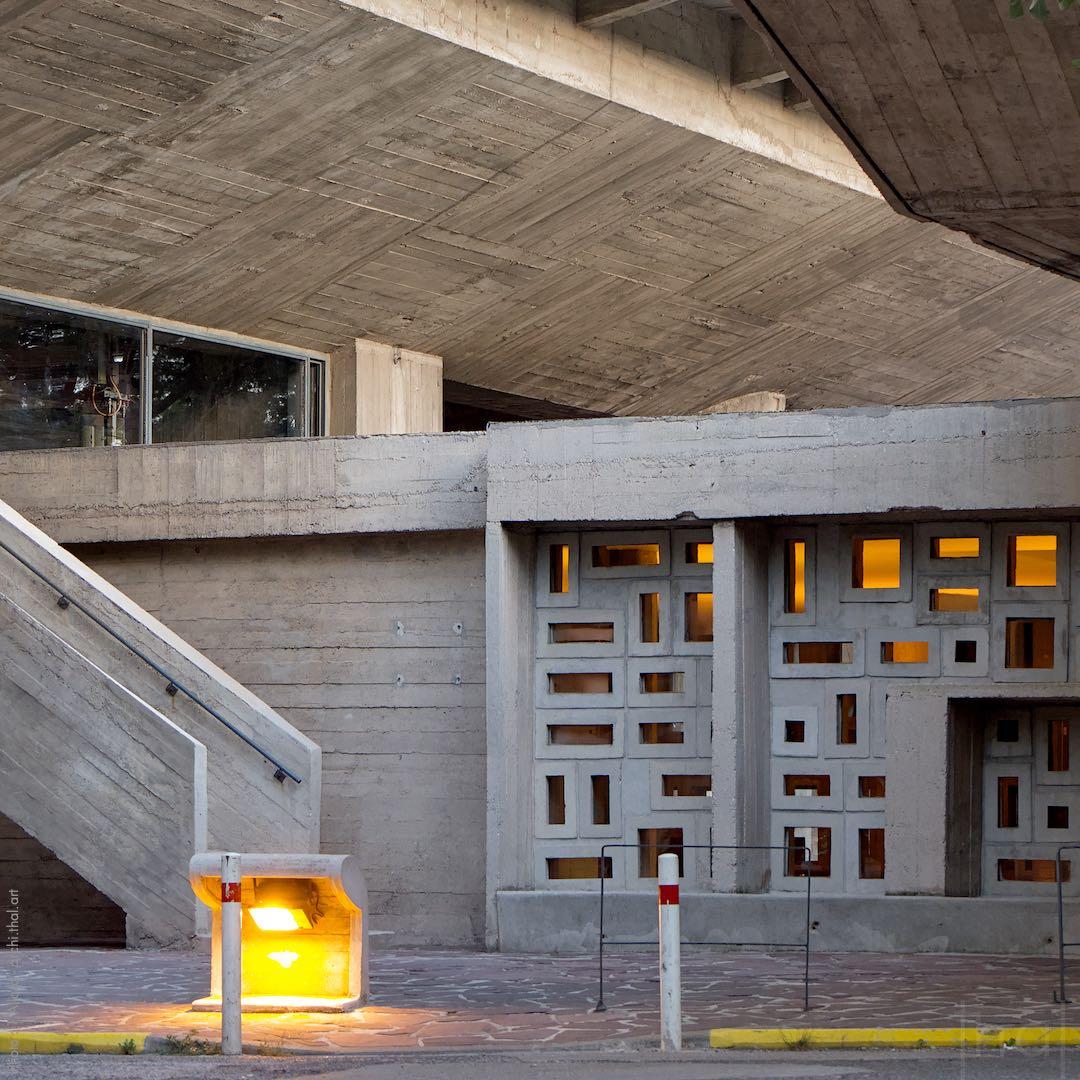 Détail de structure en béton de la Cité Radieuse