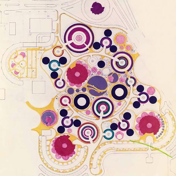 Plan masse de la cité du XXe siècle inspiré de Saunia Delaunay